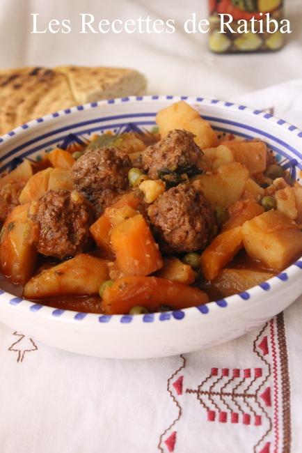 tajine de légumes boulettes de kefta